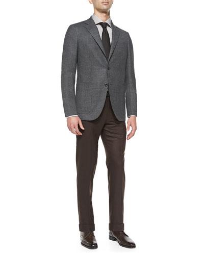 Blazer with Elbow Patches, Herringbone Silk Tie, Polished Leather Belt & ...