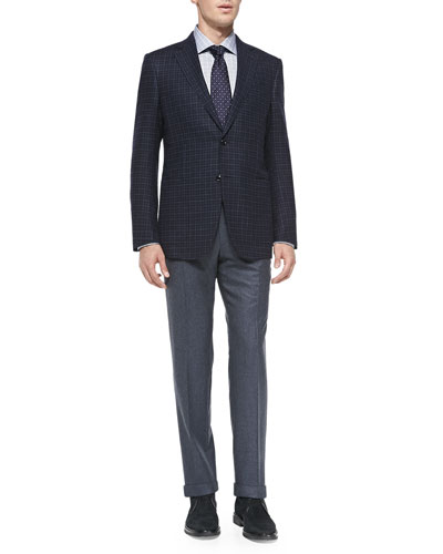 Trofeo-Cashmere Check Jacket, Melange Flannel Trousers, Suede Chukka Boot & ...