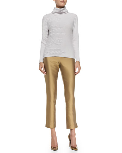 Cashmere Cable-Mix Turtleneck & Stanton Stretch Cropped Pants