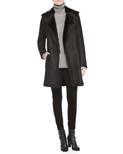 Asymmetric Shearling Fur Coat, Cable Knit Turtleneck Sweater & Suede ...