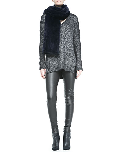 Metallic V-Neck Knit Sweater, Rabbit Fur Scarf & Smooth-Front Leather Leggings