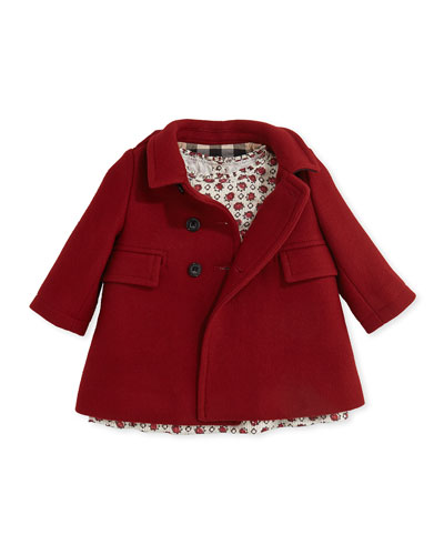 Wool-Blend Pea Coat & Hammered Print Silk Dress