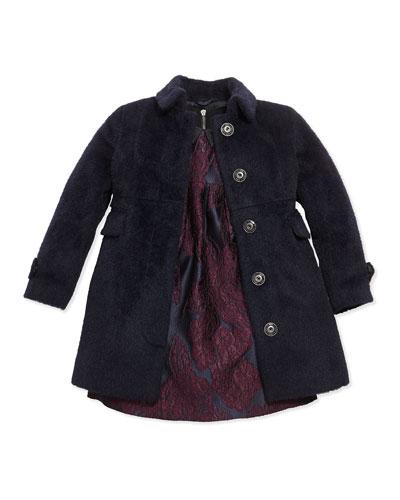 Fuzzy London-Inspired Coat & Jacquard Dress