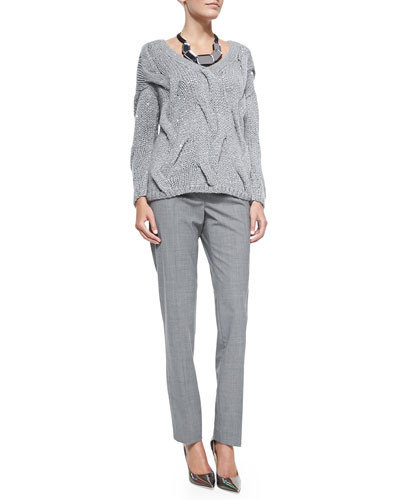 V-Neck Cashmere-Blend Cable Sweater, Aster Slim-Leg Pants & Lucite ...