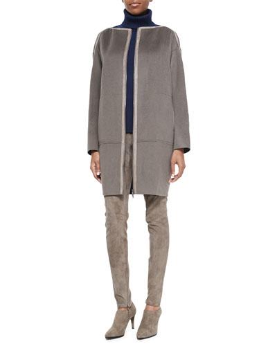 Marcella Wool/Cashmere Coat, Cashmere Turtleneck Sweater & Suede Pants