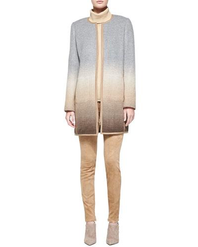 Shira Ombre Wool-Blend Coat, Long-Sleeve Wool-Blend Turtleneck & Slim Suede ...