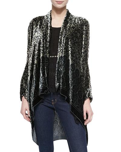 Morra Printed Velvet Jacket & Yen Long-Sleeve Asymmetric Tunic, Women's