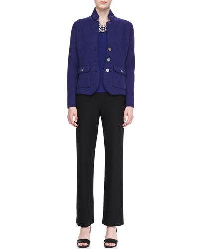 Double-Knit Felt Jacket, Jewel-Neck Jersey Top & Straight-Leg Pants