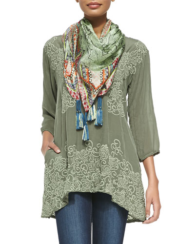 Adina V-Neck Embroidered Blouse & Jimmy Printed Silk Scarf, Women's