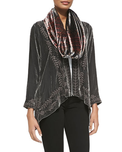 Lauren Velvet Draped Cardigan & Tribal Circle Silk Velvet Scarf, Women's
