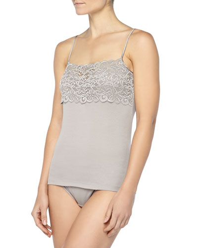 Luxury Moments Wide-Lace Camisole & Moments Lace-Trimmed High-Cut Briefs, Ash