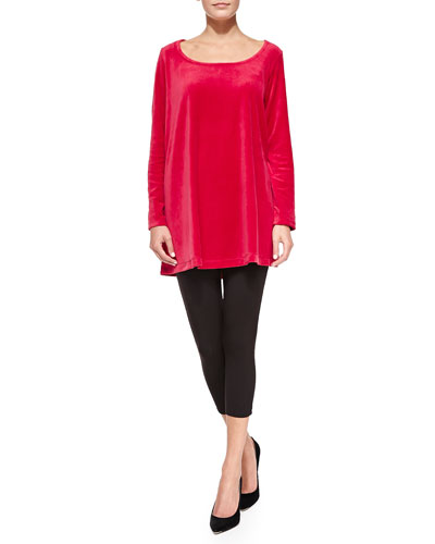 Velour Trapeze Tunic and Cropped Stretch-Jersey Leggings, Petite