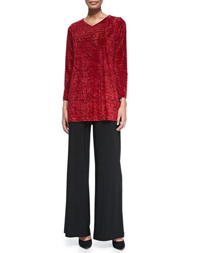 Diamond Crush Velvet Tunic & Stretch Knit Wide-Leg Pants
