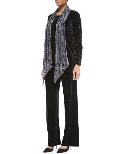 Long-Sleeve Velvet Tunic, Stretch Velvet Pants & Diamond Crush Velvet ...