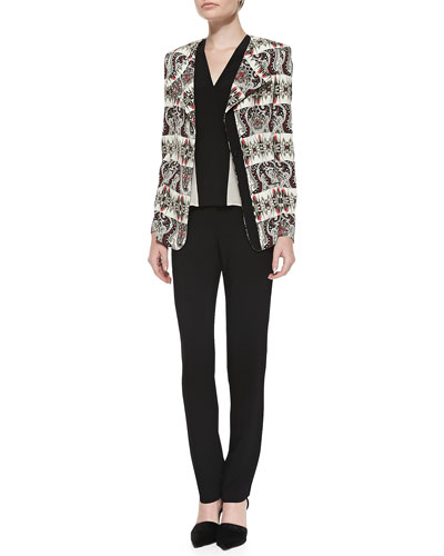 Striped Cady One-Button Jacket, Colorblock V-Neck Cap-Sleeve Top & Slim-Leg ...
