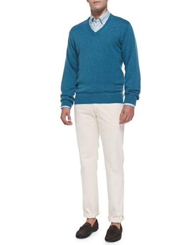 Cashmere V-Neck Sweater, Cotton Tattersall-Check Sport Shirt & New 5-Pocket ...