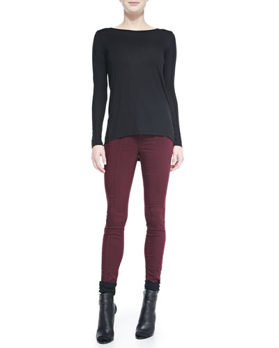 Seamed-Sleeve Jersey Tee & Zip-Pocket Skinny Jeans
