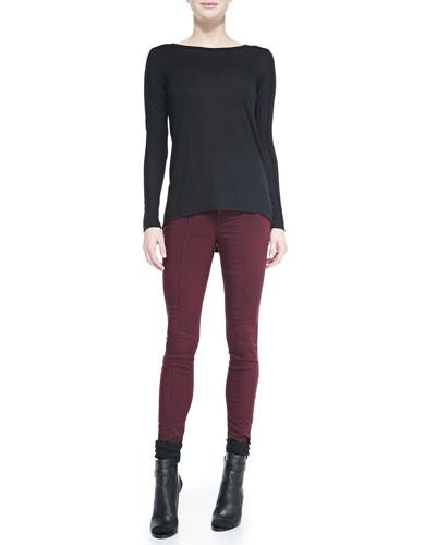 Seamed-Sleeve Jersey Tee & Zip-Pocket Skinny Jeans