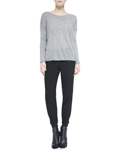 Lightweight Knit Crewneck Sweater & Jersey Harem Pants