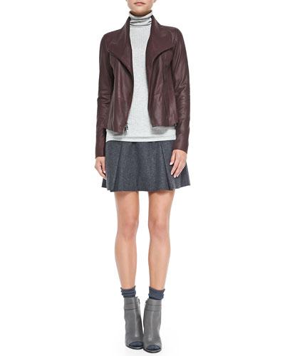 Leather Scuba Jacket, Ribbed Knit Turtleneck & Pleated Flared Wool Skirt