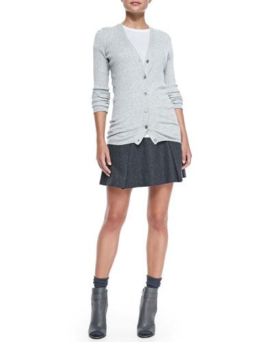Skinny-Rib Cardigan, Basic Tee & Pleated Flared Wool Skirt