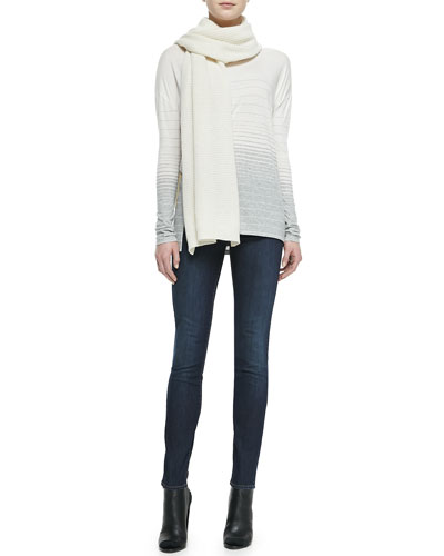 Knit Thermal Scarf, Striped Jersey Boat-Neck Tee & Dylan Skinny Jeans