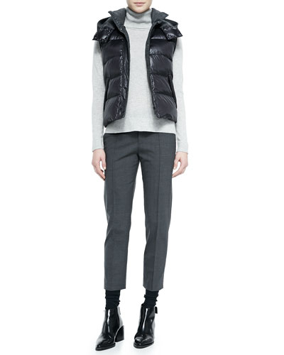 Detachable Hoodie Puffer Vest, Cashmere Turtleneck Sweater & Pintuck ...