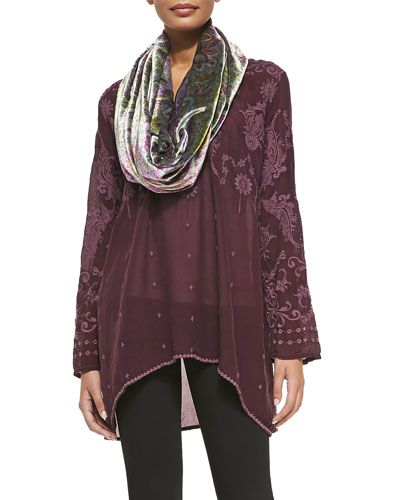 Fabb V-Neck Embroidered Georgette Top & Monte Cristo Velvet Infinity Scarf, ...