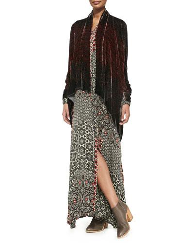 Morra Silk Velvet Jacket & Animalia Long-Sleeve Maxi Dress