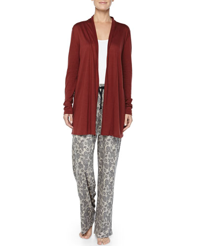 Universe of Hanro Floral-Pants & Cashmere-Blend Open Cardigan