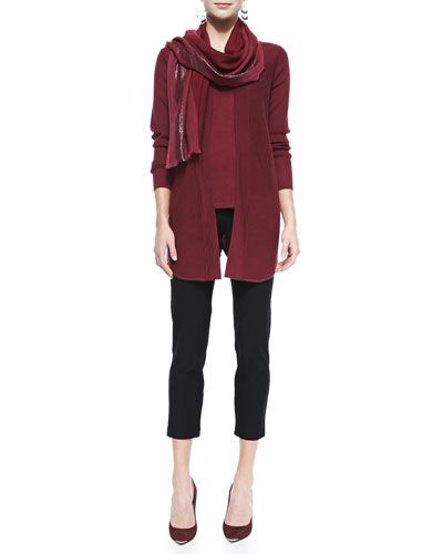 Merino Wool Jersey Long Cardigan, Muscle Tee, Stretch-Crepe Ankle Pants & ...