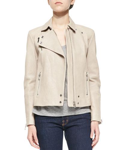 Lais Leather Zipper Moto Jacket & Darby Slub-Knit Tee
