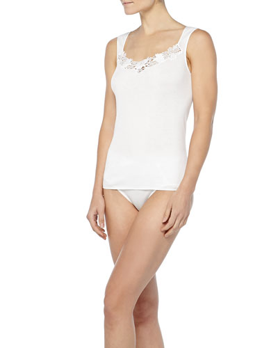 Queens Guipure Lace-Inset Tank Top & Trimmed Full Briefs, Off White