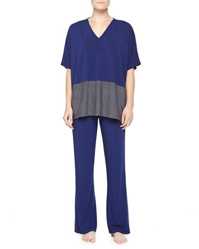 Colorblock Jersey Caftan Top & Drawstring Wide-Leg Pants, Deep Sea