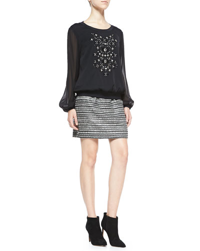 Long-Sleeve Top W/ Hand-Beaded Front & Striped Back-Zip Bell Skirt