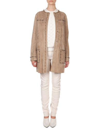 Studded Suede Jacket, Lace-Front Sweatshirt & Seamed-Knee Moto Pants