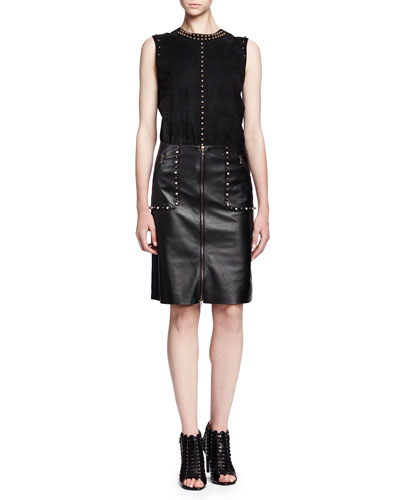 Sleeveless Studded Suede Top & Studded Zip-Front Leather Skirt