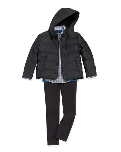 Boys' Down-Fill Puffer Jacket, Plaid Button-Down Shirt, Favorite V-neck Tee ...