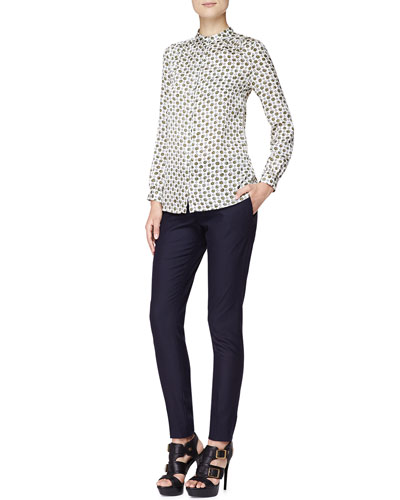 Punchy Flower-Print Blouse and Tailored Wool-Blend Pants