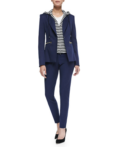 Suit Jacket with Removable Hooded Dickey, Double-Georgette Muscle Tee & ...