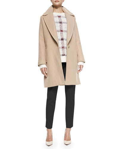 Razan Long Felt Coat, Innis Knit Plaid Pullover Sweater & Belisa Slim ...