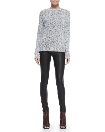 Innis Knit Pullover Sweater & Pitella Flat-Front Lambskin Leggings