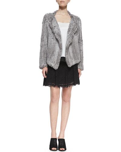 Aviana Rabbit Fur Jacket, Elvire Contrast-Hem Silk Tank & Maika Lace Skirt ...