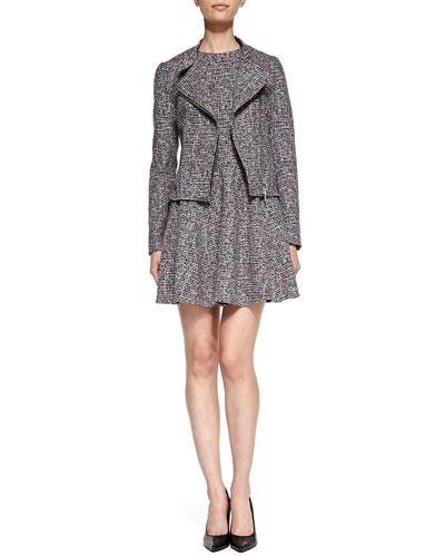 Kinde Front-Zip Tweed Jacket & Tillora Printed Flare-Skirt Dress