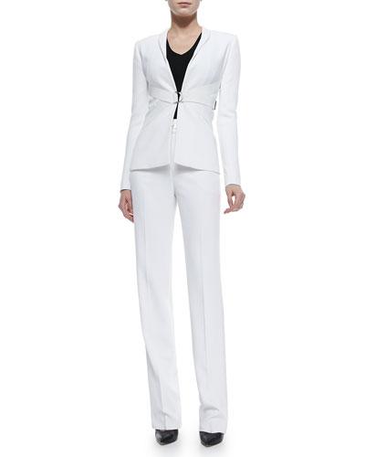 Tux-Collar Double-Strap Jacket & High-Waist Tux-Stripe Pants