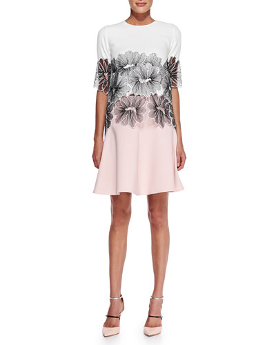 Half-Sleeve Floral Lace Top & Box-Pleated A-Line Skirt