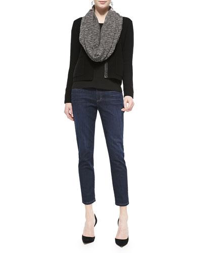 Soft Knit Leather-Trim Short Jacket, Long-Sleeve Top, Slim Stretch Ankle ...