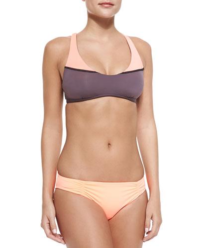 L Play Savasana Swim Top, Sensual Solids Estella Swim Bottom & Colorblock ...