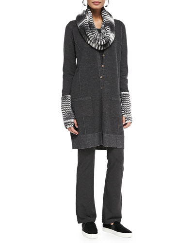 Fine Merino Knee-Length Cardigan, Slim Jersey Top, Space-Dyed Chainette ...