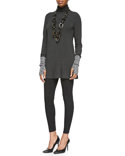 Scrunch Turtleneck Tunic, Herringbone Cashmere Glovettes &  Viscose Jersey Leggings